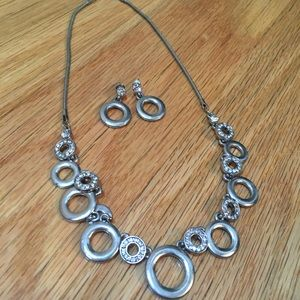 Jewelry - Circles Necklace and Earrings Set, Crystal Accents